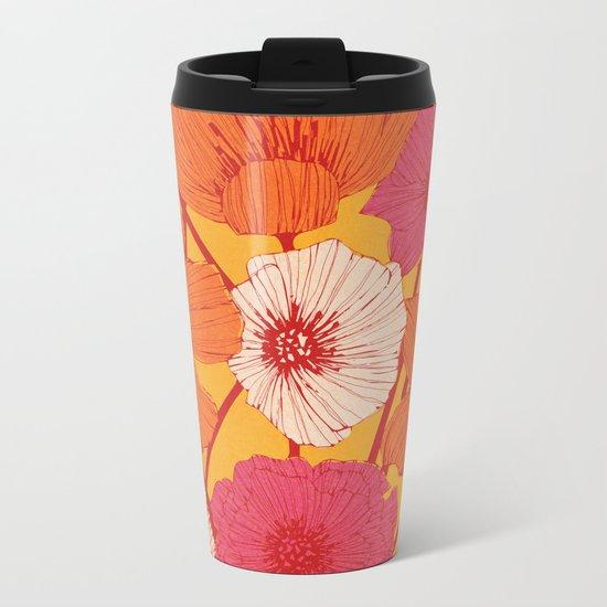 Summer Flowers Metal Travel Mug