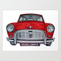 mini cooper Art Prints featuring Mini Cooper by Jorge Antunes