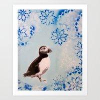 Snowflake Puffin  Art Print
