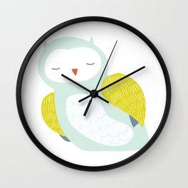 Mint Green Sleepy Owl Wall Clock