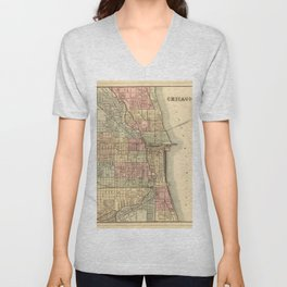 Vintage Map Of Chicago Unisex V-Neck