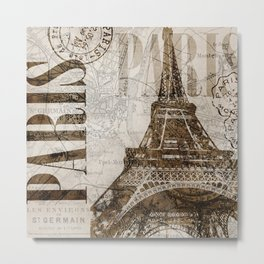 Vintage Paris eiffel tower illustration Metal Print