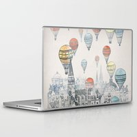 new york map Laptop & iPad Skins featuring Voyages over Edinburgh by David Fleck