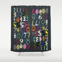 numbers Shower Curtains featuring Numbers by Arken25