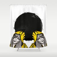 lucy Shower Curtains featuring Lucy Furr by static candy