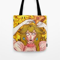 princess peach Tote Bags featuring Princess Peach by Jazmine Phillips