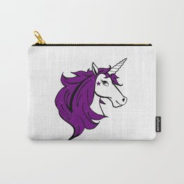 Colorful Cartoon Unicorn - Purple Carry-All Pouch