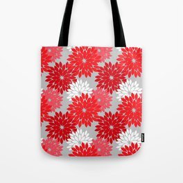 Modern Floral Kimono Print, Coral Red and Gray Tote Bag