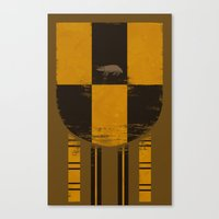 hufflepuff Canvas Prints featuring hufflepuff crest by nisimalotse