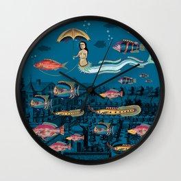 Mermaid and red fish pet Wall Clock