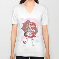 puppycat V-neck T-shirts featuring Bubbles!  by Jack Husky