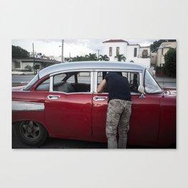 Red Car with Conversation, Viñales Canvas Print