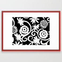 doiley flowers - black Framed Art Print