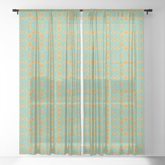 Warm Yellow and Orange on Blue ( 5 / 12 ) Sheer Curtain by ...