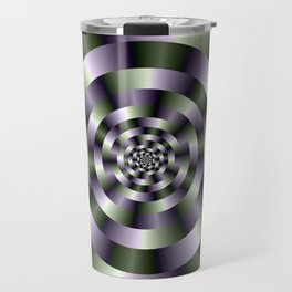 Concentric Circles in Green and Purple Travel Mug