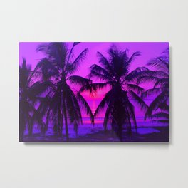 Pink Palm Trees by the Indian Ocean Metal Print