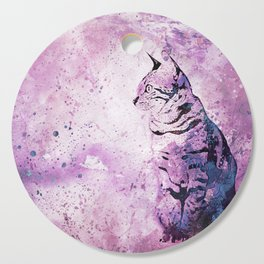 Pink Watercolor Cat Painting Cutting Board