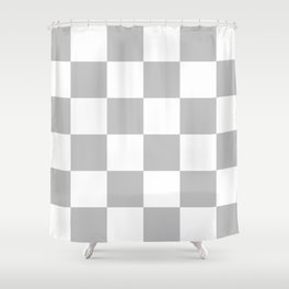Large Checkered - White and Silver Gray Shower Curtain