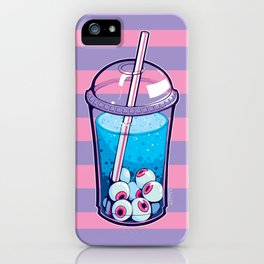 Eyeball Bubble Tea (Striped Print Version) iPhone Case