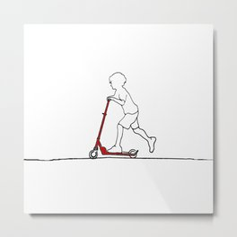 Boy on scooter Metal Print