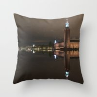 stockholm Throw Pillows featuring Stockholm by BearClauseDesigns