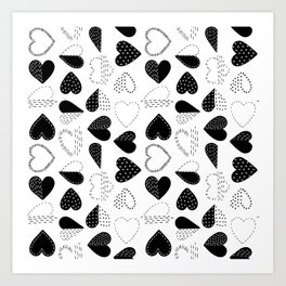 Black and White Patch Boro Embroidery Hearts Art Print