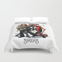 gotham Duvet Covers featuring Sirens Gotham city by rainbowarts