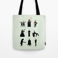 men Tote Bags featuring Men in Black by Eric Fan