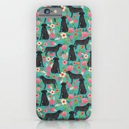 Black Labrador Retriever dog floral gifts must haves black lab lover iPhone Case