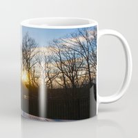 rileigh smirl Mugs featuring Snowy Sunset by Rileigh Smirl