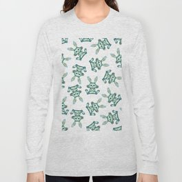 Blue rabbit with flora instead of coat Long Sleeve T-shirt