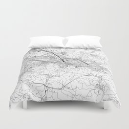 Florence White Map Duvet Cover