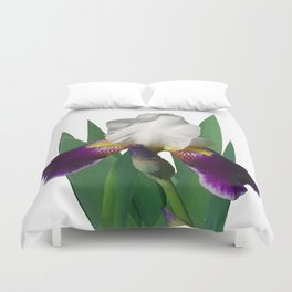 Violet and white Iris 'Wabash' Duvet Cover