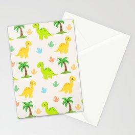 Cute Dinosaur Nursery Illustration – Yellow and Green Brontosaurus Stationery Cards
