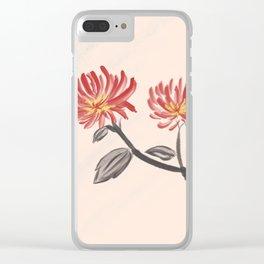 Chrysanthemum Minimalist Japanese Art Clear iPhone Case