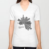 melbourne V-neck T-shirts featuring Melbourne Map by Shirt Urbanization