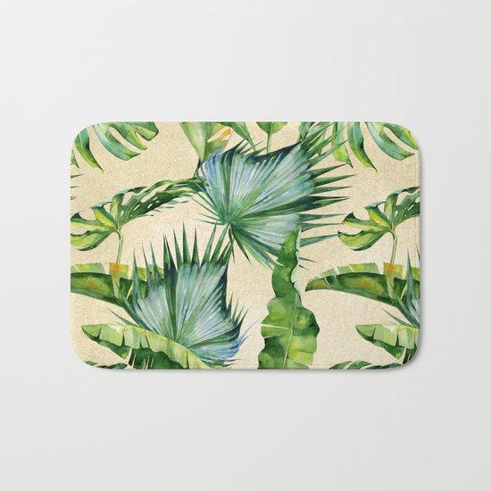 Green Tropics Leaves on Linen Bath Mat