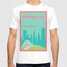 Welcome to Townsville White SMALL Mens Fitted Tee