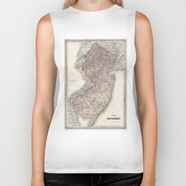 Vintage Map of New Jersey (1868) Biker Tank