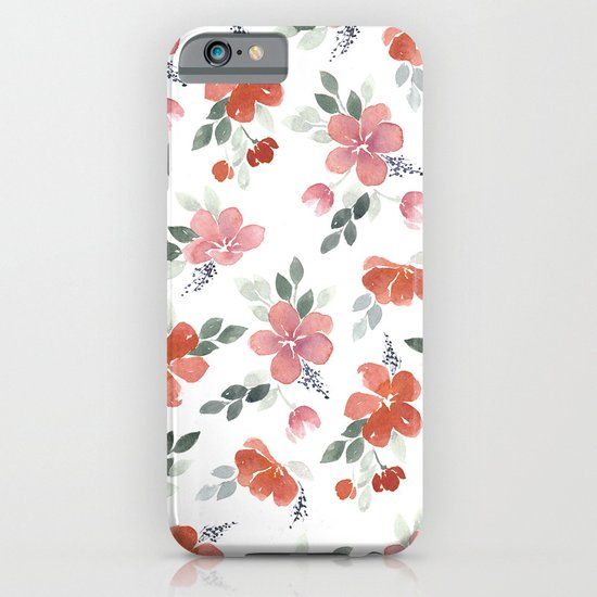 Red Watercolor Floral Patten iPhone & iPod Case