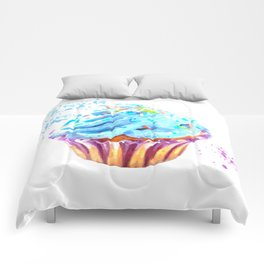 Cupcake watercolor illustration Comforters