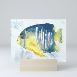 Blue and Yellow tropical fish Mini Art Print