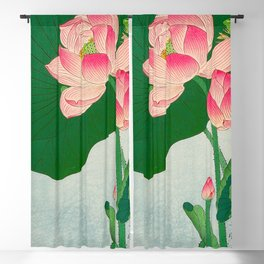 Ohara Koson Flowering Lotus 1930s Japanese Woodblock Print Vintage Historical Japanese Art Blackout Curtain