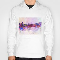 seoul Hoodies featuring Seoul skyline in watercolor background by Paulrommer