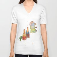 nail polish V-neck T-shirts featuring Nail Polish by Alia