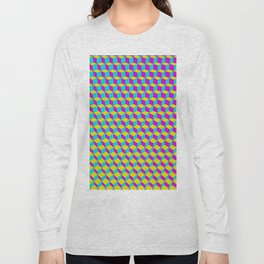Colorful 3D Cubes Pattern Long Sleeve T-shirt