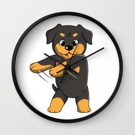 Flossing Rottweiler Floss Dance  Wall Clock