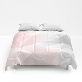 pink and gray geometric low poly background Comforters