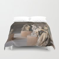 medieval Duvet Covers featuring medieval prayers by Lisa Carpenter