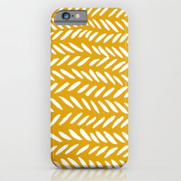 Knitting pattern - white on ochre iPhone Case